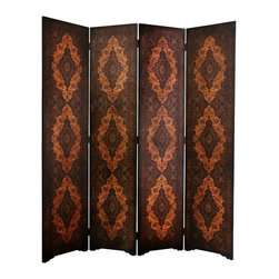 Oriental Unlimted - 4-Panel Olde-Worlde Classical Room Divider - Each panel is finished in fine quality and beautifully textured faux leather. Elegant old style continental European design on front and back sides. Crafted with sturdy kiln dried wood frames. 15.75 in. W x 1 in. D x 72.5 in. H (35 lbs.)