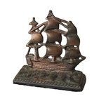 """Used Clipper Ship Bookend - Set sail with this heavy iron bookend. It would make great doorstop. 5.5"""" tall."""