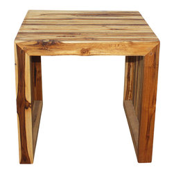 Kammika - C End Table Farmed Teak 19 x 19 x 18 inch Height w Eco Friendly Tung Oil Finish - Our Farmed Teak wood C Table 19 inch x 19 inch x 18 inch Height with Eco Friendly Tung (Honey brown) Oil Finish end table has an appealing rough-hewn look that lends a sense of comfort to any setting. Created from farmed Teak wood, its slatted sides and top add a rustic touch to a very sophisticated piece of furniture. This lovely addition to your decor will make itself at home as an end table, display stand or stool - better yet, team it up with a partner to serve as a unique coffee table. This farmed Teak wood functional art item can be enjoyed at the pool, patio, or garden areas. Eco friendly, natural, food-safe Tung Oil creates a highly water resistant and food safe finish. These natural oils are then polished to a matte finish. The light and dark portions of wood turn to darker shades of brown over time and the alkaline in the oils create a honey orange color highly water resistant and food-safe eco friendly finish. These natural oils are translucent so the wood grain detail is highlighted. There is no oily feel and cannot bleed into carpets as it contains natural lacs. We make minimal use of electric hand sanders in the finishing process. All products are dried in solar kilns and or propane kilns. No chemicals are used in the process, ever. We use eco friendly food-safe finishing oils. After each eco friendly functional art piece is kiln dried, sanded, and hand rubbed with eco friendly all natural Tung oil; they are then packaged with cartons from recycled cardboard with no plastic or other fillers. As this is a natural product, the color and grain of your piece of nature will be unique, and may include small checks or cracks that occur when the wood is dried. Sizes are approximate. Products could have visible marks from tools used, patches from small repairs, knot holes, natural inclusions, and/or worm holes. There may be various separations or cracks on your piece when it arrives. There may be some slight variation in size, color, texture, and finish color.Only listed product included.