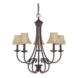 Capital Lighting Fixture Company - Hometown Burnished Bronze Five-Light Chandelier - -Shade Type/Material - Decorative Fabric Clip On Shades  -Shade Dimensions 6-Inches W x 4.5-Inches H  -Includes 10-Feet of chain and 15-Feet of wire Capital Lighting Fixture Company - 3225BB-423