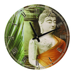 Oriental Furniture - Orange Draped Buddha Wall Clock - Round wall clock featuring a photograph of a white stone Thai Buddha statue in front of a temple, wearing a bright saffron sash. Buddha photograph is printed next to a cropped image of a vibrant green palm frond.