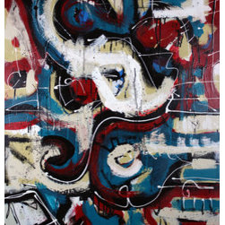 Second Chance (Original) by Craig Moser - Modern abstract with winding shapes & overlapping colors. This piece was painted in 2012 and signed and dated by the artist. Canvas is wired and ready to hang on your wall.