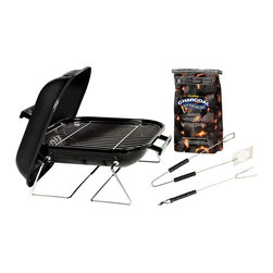 "Kay Home Products - Tabletop Charcoal Grill with Charcoal and Tool Set - 14"" - Tabletop Charcoal Grill with Charcoal and Tool Set - 14 inch.Features:"