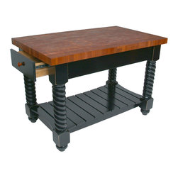 John Boos - John Boos End-Grain Cherry Tuscan Isle Kitchen Island - Boos kitchen island. Cherry butcher block top is 2-1/4 inch thick and end grain style. Comes in two sizes: 54x32 and 72x32 inches; 36 inches tall. CH-TUSI.
