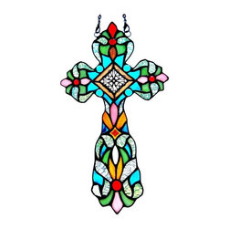 None - Tiffany Style Cross Design Window Panel/ Suncatcher - Add an abstract look and texture to any window with this cross stained glass sun catcher in exquisite tones of green,red and blue glass. The window panel comes with mounting hardware for easy assembly.
