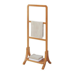 Organize It All - Lohas Towel Rack - This towel rack has room to hang three towels at a time, and bottom shelf for additional folded towels.  Made from Carbonized Bamboo. Carbonization is a a source of energy which does not produce carbon dioxide. . It is a high-temperature treatment that stabilizes the material, making it antimicrobial.. The process gives the Bamboo itâs caramel color and prevents color-fading, breakage and warping. Handles moisture well.
