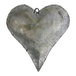 HomArt - Tin Man's Heart - Made from galvanized tin with light green accents, the decorative Tin Man's Heart makes a sweet, simple accessory to industrial decor. The tiny loop at the top allows for hanging. Display it on a coffee table, hang it as a holiday ornament or tie it to a gift as a unique accent piece.