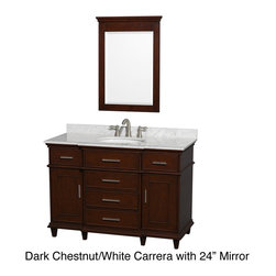 Wyndham Collection - Berkeley Single 48-inch Vanity - If your bathroom's asking you for a facelift,the Berkeley is a worthy choice. At once elegant,classic and contemporary,the Berkeley vanity lends an air of sophistication and charm to any bathroom.