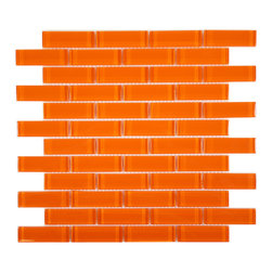"Euro Glass - Orange Burst  1"" x 3"" Orange Crystile Solids Glossy Glass - Sheet size:  11 5/8"" x 11 5/8""        Tile Size:  7/8"" x 2 7/8""        Tiles per sheet:  48        Tile thickness:  1/4""        Grout Joints:  1/8""        Sheet Mount:  Mesh Backed     Sold by the sheet     -  Our Crystile Series offers a wide range of hues to suit your mood and your style! The vibrancy and depth of our crisp smooth glass results in a unique and dramatic effect for use in both residential and commercial installations.  The Crystile Series is virtually limitless in its range of applications and is suitable for the following walls backsplashes and any area just waiting to be transformed by light and color! Our sheets of mesh-mounted glass can be used to produce and endless variety of field patterns borders and medallions. This Series is ideal for use alone or as an exquisite complement to ceramic and natural stone materials. Let creativity be your guide. Crystile tiles are are easy to clean and maintain. Our tiles will never discolor and will continue to provide a smooth and luxurious appearance for many years to come."