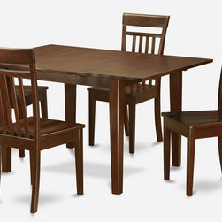 """East West Furniture - Milan 5Pc Set with Dining Table and 4 Capri Wood Seat Chairs - Milan 5Pc Set with Rectangular 36 X 54 Table with 12 In Butterfly Leaf and 4 Wood Seat Chairs; Rectangular dining table is designed in contemporary style with clean angles and sleek lines.; Table and chairs are crafted of fine Asian solid wood for quality and longevity.; Chairs are available with either wooden seats or upholstered seats to suit preference and desired motif.; Table features a standard butterfly leaf for convenient extension.; Ladder back chair style is sturdy, durable, and is ideal for classic decor in any kitchen or dining room.; Dinette sets are available in either rich Mahogany or exquisite Saddle Brown finish.; Weight: 139 lbs; Dimensions: Table: 42 - 54""""L x 36""""W x 29.5""""H; Chair: 17.5""""L x 17""""W x 38.5""""H"""