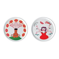 "Alessi - Alessi ""Pummaroriella Piatti"" Pizza Plate Set - As if you need another reason to love pizza, this plate set will make you crave it even more. Designed by Italian comic-strip artist and illustrator Massimo Giacon, the two porcelain plates feature comic book type characters that bring even more fun to mealtime."