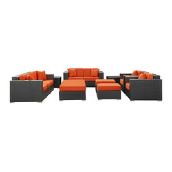 Modway - Eclipse Rattan Espresso with Orange Cushions 9-piece Outdoor Set - Achieve cosmic aptitude with this empirically abundant outdoor living set. This set includes an armchair, coffee table, loveseat, sofa, ottoman and side table in a weather-resistant finish.