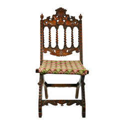 Lavish Shoestring - Consigned Folding Chair w/ Embroidered Seat, Carved Ornamental Mahogany, English - This is a vintage one-of-a-kind item.