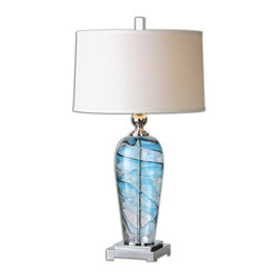 Uttermost - Andreas Blown Glass Lamp - Blown, clear and blue glass accented with polished nickel plated details. The slightly tapered round hardback shade is a crisp white linen fabric.