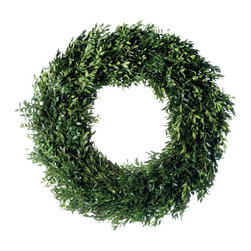 Magnolia Company - Fresh Boxwood Wreath, 18x18 - Grown in the climate of the Blue Ridge Mountains, this simple, but stately wreath was fabricated to show off the beautiful simplicity of boxwood. A delight from the mountains, snow permitting! We also have matching garlands!