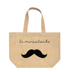 "Fiber and Water - La Moustache Tote Bag - A witty and french inspired print, La Moustache is great for the hip mustache lover!! Great for the farmers market, going to the beach, or shopping around town. Strong enough to hold all of your purchases.  Hand pressed water-based ink, black. 100% Natural Burlap, Linen lining 20""w x 14""h x 6""d. Printed in Maine."