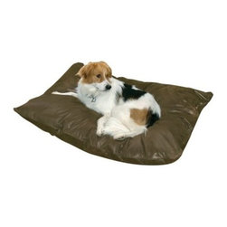 Bosco Dog Bed - The Happy Hounds Bosco Dog Bed provides plush relaxation for your pet with its faux leather look and feel. Filled with 100% post-consumer recycled plastic poly-fiber fill the dog bed features durable double-sewn boxed edges with decorative cording. Its reversible design allows for longer use and the hefty zipper is hidden to prevent chewing. The heavy-duty microfiber fabric is 98% waterproof. It has a removable and machine-washable cover available in your choice of color.Size dimensions:Extra-Small: 24L x 18W x 5H inchesSmall: 36L x 24W x 5H inchesMedium: 42L x 30W x 6H inchesLarge: 48L x 36W x 6H inches