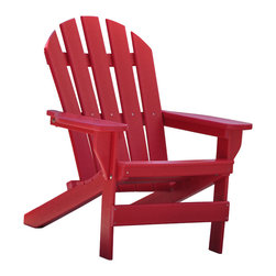 Jayhawk Plastics Inc. - Cape Cod Adirondack Chair, Red - The Jayhawk Plastics Cape Cod Chair was built with comfort in mind. Made with a 5 slatted configuration in the back, this chair reflects the traditional style of your everyday Adirondack Chair. The entire chair is made from Jayhawk's 100% Recycled Plastic making the chair maintenance free. The entire product is UV stabilized to protect against fading. The hardware used is Marine Grade Stainless Steel, an industry first.