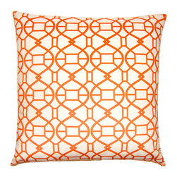 "Square Feathers - Picnic Spiral Orange Throw Pillow - The Picnic Spiral throw pillow's lively geometric pattern lends spirit and energy to the living room or bedroom. Finished with knife clean edges, the contemporary faux suede accent receives texture from maze-like twists and turns embroidered in bright orange against crisp white. This decorative pillow is handmade from polyester and features a zipper closure. Includes 90/10 feather down insert. Dry clean only. Made in the USA. Available in several sizes. 24""W x 12""H. 20""W x 20""H. 22""W x 22""H. 24""W x 24""H. 26""W x 26""H."