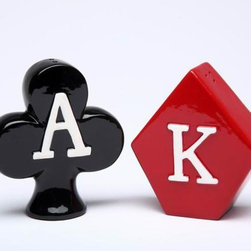 CG - King of Diamonds and Ace of Clubs Poker Style Salt and Pepper Shakers - This gorgeous King of Diamonds and Ace of Clubs Poker Style Salt and Pepper Shakers has the finest details and highest quality you will find anywhere! King of Diamonds and Ace of Clubs Poker Style Salt and Pepper Shakers is truly remarkable.