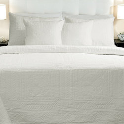 None - Adele Cotton White 3-piece Quilt Set - Go for a traditional vibe with this cotton white quilt set, featuring classic and delicate stitching atop a white background, this crisp white easy-care quilt set would suit an elegant decor and would compliment most hardwood furniture tones.