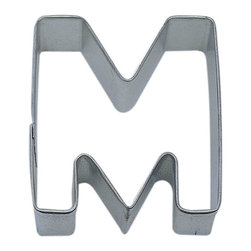"RM - Letter M 3 In.  Alm - Letter M cookie cutter, made of sturdy tin, Size 3"" tall, Depth 7/8"", color: silver"