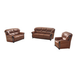 American Eagle Furniture - 7983 Brown Bonded Leather Three Piece Sofa Set With Walnut Wood Trim - The 7983 sofa set has a traditional look with a touch of modern design that work's well with any setting. This sofa set comes upholstered in a stunning brown bonded leather on the front where your body touches. Carefully chosen match material is used on the back and sides where contact is minimal. High density foam is placed within each piece for added comfort. The sofa set comes accented with dark walnut wood trim that adds to the overall look. The sofa set shown includes a sofa, loveseat, and chair only. The coffee table shown is NOT included.