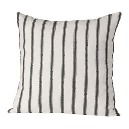 Cricket Radio - Alexandria Stripe Pillow, Oyster/Charcoal - Easy, breezy stripes give this pillow panache. It's hand-printed and sewn in Vermont using pre-shrunk Italian linen that covers a soft down insert. At 20 inches square, it also comes in your choice of colors so it's sure to coordinate easily with your bed, bench or sofa.