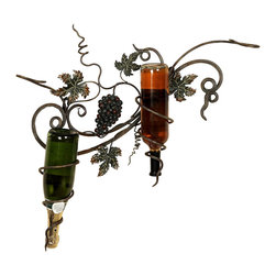 None - Handcrafted Metal Wall Wine 2-Bottle Holder - Display two bottles of your favorite wine with this hanging wine rack. Simply spectacular,and featuring a naturally beautiful grape vine motif,this metal wine rack has been painstakingly handcrafted to provide a look youre certain to appreciate.