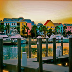 Harborside Resort  Atlantis Resort, Fine Art Photography Print, 10X15 - This photo makes me want to book an airline ticket to the Bahamas right now! This is a view of the vibrantly colored Harborside Villas at the Atlantis in Paradise Island, Bahamas.  I love the tropical feel. Take me away!
