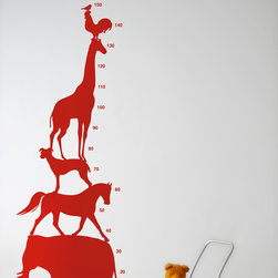 Animal Tower Wall Stickers - Red - With our decorative WallStickers, it is easy to create a new look and change the style of a room in a matter of minutes. Can be applied to all even and smooth surfaces. Will not stick to rough surfaces, such as brick walls etc.