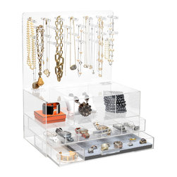 """GLAMbox - GLAMclassic Jewelry box, 9"""" X 20"""", With Acrylic Handles - The GLAMbox Jewelry Organizer and Display is the ultimate way to see all of your jewelry and have easy access to all of your pieces. The GLAMbox Jewelry Organizer and Display is a gorgeous design that is high quality and modern with a sleek twist. There are two versions of this GLAMbox, one is a sleek smooth box and the other has acrylic rods on each side to use as bracelets holders. The crystal clear box makes it seem like your jewelry is floating in air, and is a beautiful piece of art at the same time. You will feel like you are going shopping for jewelry each time you pick a piece from your glamorous GLAMbox!"""