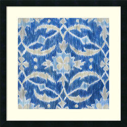 Amanti Art - Megan Meagher 'Royal Ikat I' Framed Art Print 25 x 25-inch - Royal blue tones and floral patterns are on display in this enchanting ikat design by artist Megan Meagher.