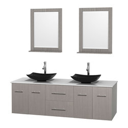 """Wyndham Collection - Centra 72"""" Grey Oak Double Vanity, White Man-Made Stone Top, Black Granite Sinks - Simplicity and elegance combine in the perfect lines of the Centra vanity by the Wyndham Collection. If cutting-edge contemporary design is your style then the Centra vanity is for you - modern, chic and built to last a lifetime. Available with green glass, pure white man-made stone, ivory marble or white carrera marble counters, with stunning vessel or undermount sink(s) and matching mirror(s). Featuring soft close door hinges, drawer glides, and meticulously finished with brushed chrome hardware. The attention to detail on this beautiful vanity is second to none."""