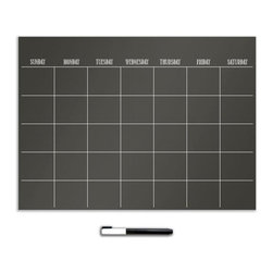 "Brewster Home Fashions - Black 17.5 x 24 Calendar Decal - This monthly calendar is a sharp way to keep track of your schedule with crisp white writing on a sleek black dry-erase decal. The dry-erase surface is totally reusable and comes with a white marker.  This calendar comes on a 17.5"" x 24"" sheet. WallPops are repositionable and totally removable."