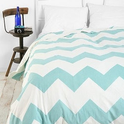 Zigzag Duvet Cover, Blue - A bold chevron pattern in a beautiful blue is soft enough for the bedroom. I wouldn't hesitate to put this in my bedroom.