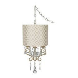 "Lamps Plus - Traditional Conti 14"" Wide Mini Swag Chandelier with Hourglass Shade - This swag style plug-in mini chandelier comes in a beautiful champagne gold finish. It's seen here with an off-white drum shade that has a wonderful tan hourglass embroidered pattern. Plug-in style chandelier so installation is easy. This design may also be installed as a direct-wire fixture. It has 15-feet of cord with an on-off switch and includes hooks and hardware. Swag style mini chandelier. Plug-in chandelier. May also be installed as a direct wire. Hardback drum shade features off white fabric with tan embroidery. 15-feet of cord with switch. Includes hooks and mounting hardware. Takes three 60 watt candelabra bulbs (not included). 14"" wide. Chandelier only is 18"" high 12"" wide.  Swag style mini chandelier.  Plug-in chandelier.   May also be installed as a direct wire.  Hardback drum shade features off white fabric with tan embroidery.  15-feet of cord with switch.  Includes hooks and mounting hardware.  Shaded chandelier design.  Takes three 60 watt candelabra bulbs (not included).  14"" wide.  Chandelier only is 18"" high 12"" wide."