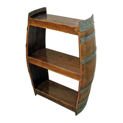 "Master Garden Products - Wine Shelf Handcrafted From Reclaimed Wine Barrel - Our full barrel shelf racks are handcrafted with reclaimed oak wine barrels retired from the local winery.  It has one middle shelf, height between shelving is 14"" making it suitable to display irregular sized bottles.  Finished with clear acrylic."
