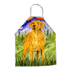Caroline's Treasures - Chesapeake Bay Retriever Apron SS8449APRON - Apron, Bib Style, 27 in H x 31 in W; 100 percent  Ultra Spun Poly, White, braided nylon tie straps, sewn cloth neckband. These bib style aprons are not just for cooking - they are also great for cleaning, gardening, art projects, and other activities, too!
