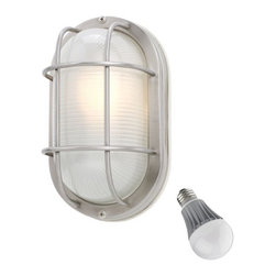Design Classics Lighting - Oval Bulkhead Marine Light with LED Bulb - 11-Inches Wide - 39956 SS  LED - This tough light will withstand extreme weather conditions. It is rated for outdoor use, yet attractive enough to be featured indoors as well. The stainless construction finish and thick frosted glass protect the bulb from exposure. It can be mounted on the wall or ceiling. Durability and no-nonsense style make this light a practical choice. Included is an energy savings LED bulb which lasts up to last 6 times longer than compact fluorescent bulbs and 35 times longer than an incandescent. Features a medium base with white diffuser and vented heat sink. Takes (1) 9.5-watt LED A19 bulb(s). Bulb(s) included. Wet location rated.