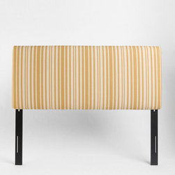 Montauk Striped Headboard - This cheerful headboard is great for a child's room, a cottage or whatever kind of charming bedroom you want to brighten up with some yellow and white stripes.