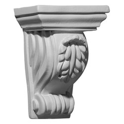 "Ekena Millwork - 4 5/8""W x 3""D x 6 3/8""H Tirana Corbel - 4 5/8""W x 3""D x 6 3/8""H Tirana Corbel. These corbels are truly unique in design and function. Primarily used in decorative applications urethane corbels can make a dramatic difference in kitchens, bathrooms, entryways, fireplace surrounds, and more. This material is also perfect for exterior applications. It will not rot or crack, and is impervious to insect manifestations. It comes to you factory primed and ready for your paint, faux finish, gel stain, marbleizing and more. With these corbels, you are only limited by your imagination."