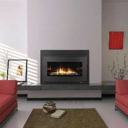 Heat & Glo Cosmo Gas Insert - Transform an existing fireplace opening. A reflective black glass interior and a long ribbon of flame deliver unmatched style.