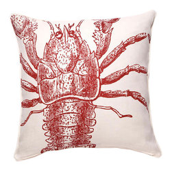 Thomas Paul - Lobster Linen Pillow, Tomato - Designed by Thomas Paul, part of the Thomas Paul Thomas Paul Linen Pillow Collection. Includes a 95/5 feather/down insert. Hand screen-printed design.