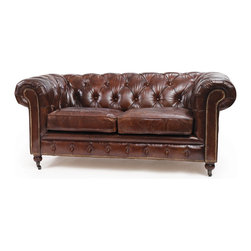Go Home - London Chesterfield Sofa - Our Vintage Industrial Collection is the definition of urban chic. Reclaimed wood, rusted iron and time worn accents insure that our unique collection of furniture, accessories and lighting will take center stage in any style of decor. Mix and match with our Rural Chic and Lodge Collections for a stylish eclectic look your friends will think you paid a designer for. Great style is not limited to the amount of space you have. Sometimes less is more!