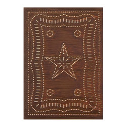 "USA Handcrafted - Four Handcrafted Punched Tin Cabinet Panel Federal Americana Star Design, Rustic - Our punched panels are handcrafted in Pennsylvania, available in copper or a variety of tin finishes, they are perfect cabinet inserts, and suitable for all of your primitive country decorating needs, Sold in Packs of Four, Each Measures 10"" wide X 14"" high"