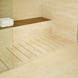 SHOWER TRAY WITH STONE STAVES - Available in Travertino Classico, Travertino Nonce, Marmo Bianco Carrara, Limestone Crema, or Grafite. Size options include (90cm x 90cm x 5cm), (120 x 90 x 5), (180 x 90 x 5). Weights are 80, 106 and 160 kg. Access to this shower tray and our full catalog of hand-chiseled natural stone is available at theverostone.com