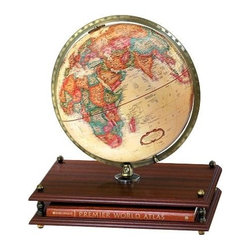 "Replogle Globes - Antique Globe w Rand McNally Atlas Stand - This Antique Globe with Rand McNally Atlas Stand is a brilliant concept!  We've combined an attractive 12"" diameter antique ocean globe with a Cherry-finished base incorporating a Hardbound Rand McNally World Atlas.  A calibrated brass-plated full meridian provides attractive contrast. * Hardbound Rand McNally World Atlas Stand12"" antique ocean globeCalibrated brass-plated full-meridianCherry wood grain base17L x 16W x 23H12""Diameter"