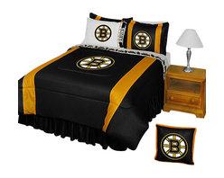 Store51 LLC - NHL Boston Bruins Comforter Pillowcase Hockey Bedding, Queen - Features: