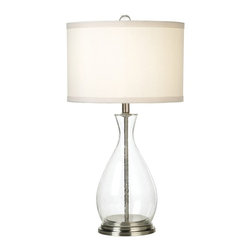 """Lamps Plus - Contemporary Glass Gourd Table Lamp - The see-thru glass look is right in style. This piece showcases an open seedy glass body. Brushed steel accents on the base and inner column rod provide a color contrast. An ivory drum shade completes the look. Takes one 150 watt bulb (not included). 28 1/2"""" high. Shade is 15"""" across the top 15"""" across the bottom and 10"""" high.  Glass body.  Brushed steel accents.   Takes one 150 watt bulb (not included).   28 1/2"""" high.  Shade is 15"""" across the top 15"""" across the bottom and 10"""" high."""